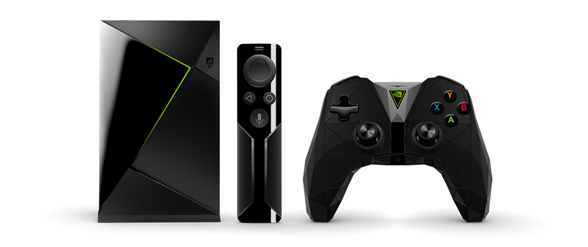 The standard 16 GB Nvidia Shield TV device and its accessories