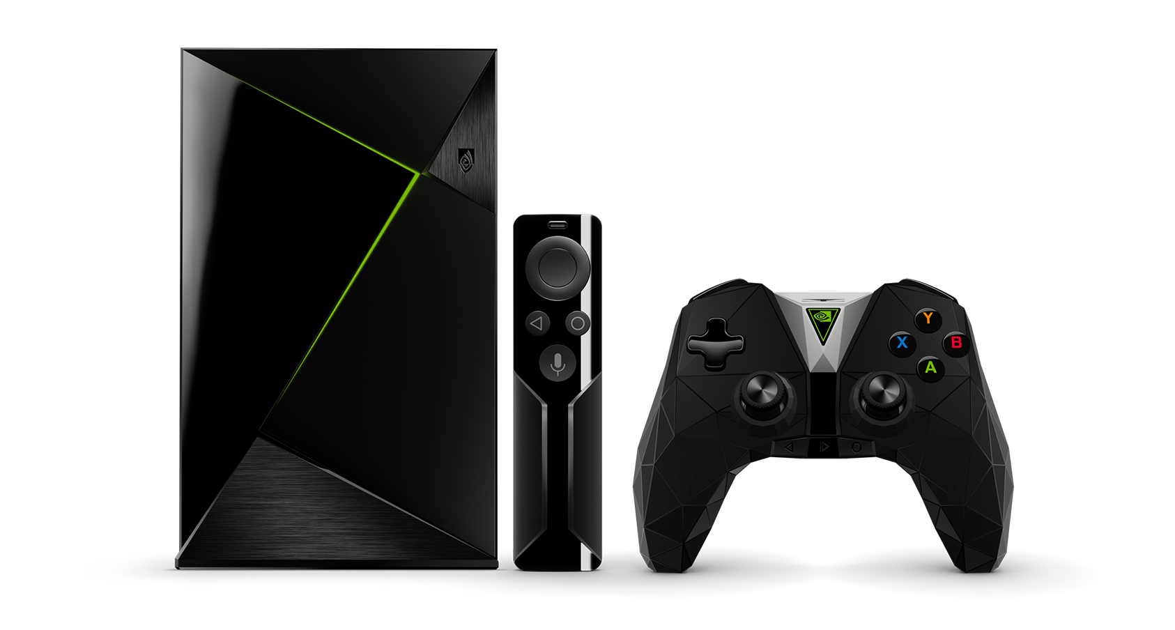 The 500 GB Nvidia Shield Pro device beside its accessories