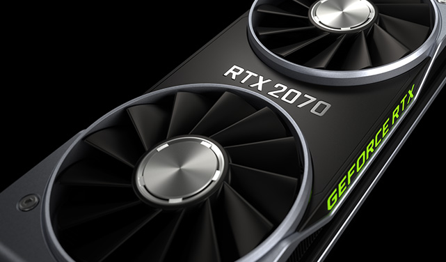 A stylish image of an Nvidia RTX 2070 GPU against a dark background.