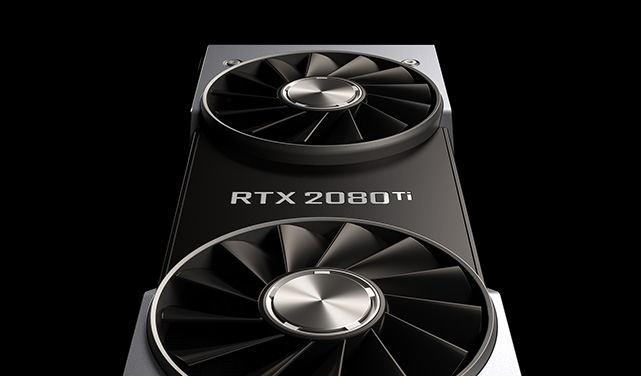 Image showing an Nvidia RTX 2080 Ti graphics card against a black background