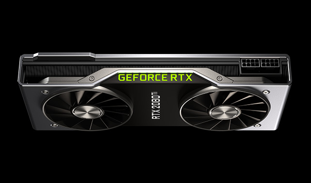 Image of an Nvidia RTX 2080 Ti graphics card against a dark background