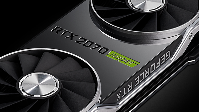 Image of an Nvidia RTX 2070 Super graphics card against a dark background