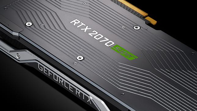 Image of Nvidia's 2070 Super GPU against a dark background.