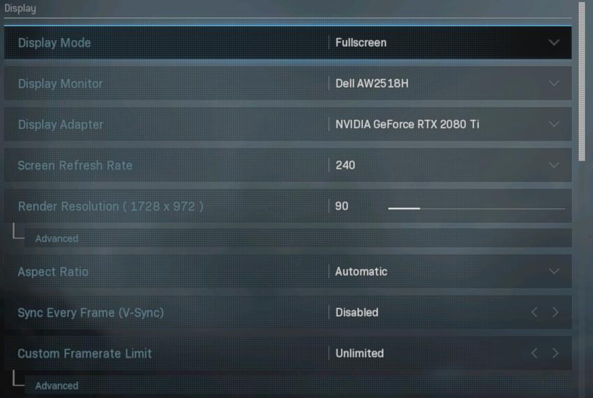 Cài đặt hiển thị 240 FPS cho Call of Duty: Warzone