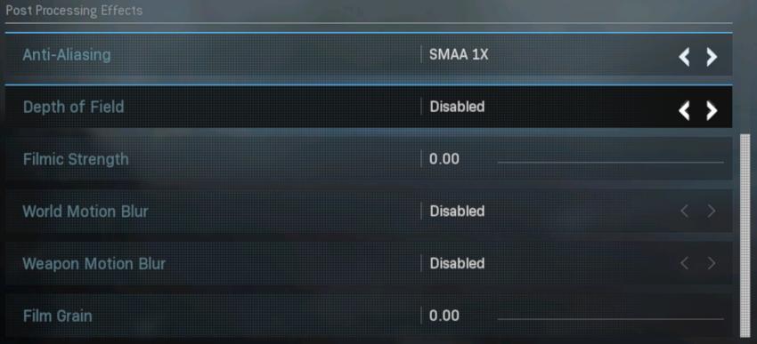Cài đặt hiệu ứng sau xử lý 240 FPS cho Call of Duty: Warzone