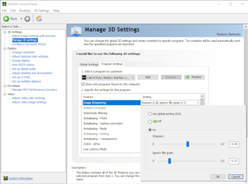 Làm sắc nét hình ảnh trong NVIDIA Control Panel