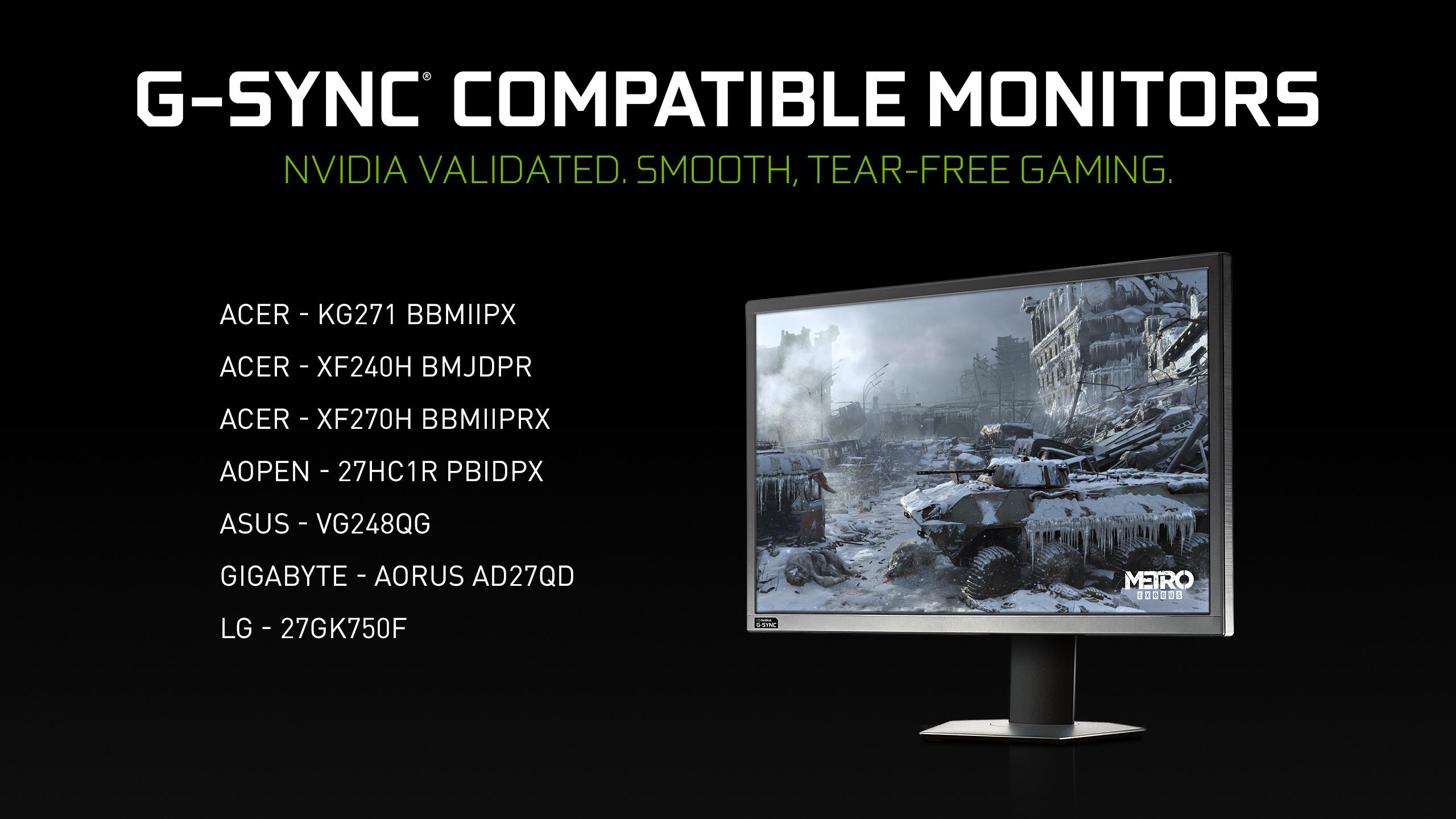 More Gaming Monitors Get G-SYNC Compatible Validation