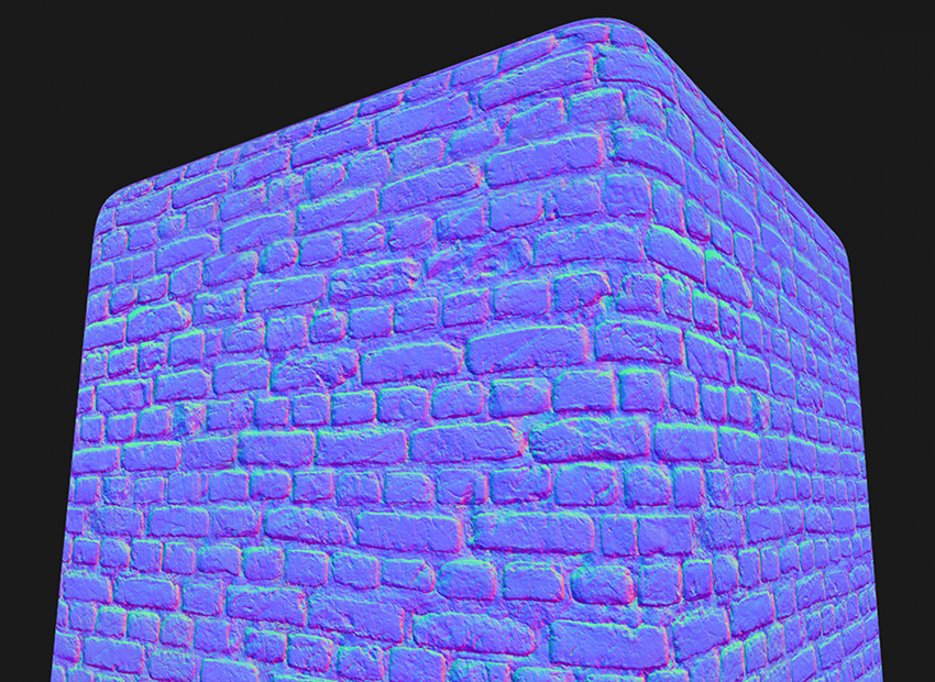 The normal map of a brick wall PBR texture