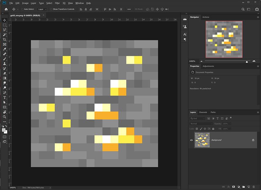 Open a vanilla Minecraft texture to start