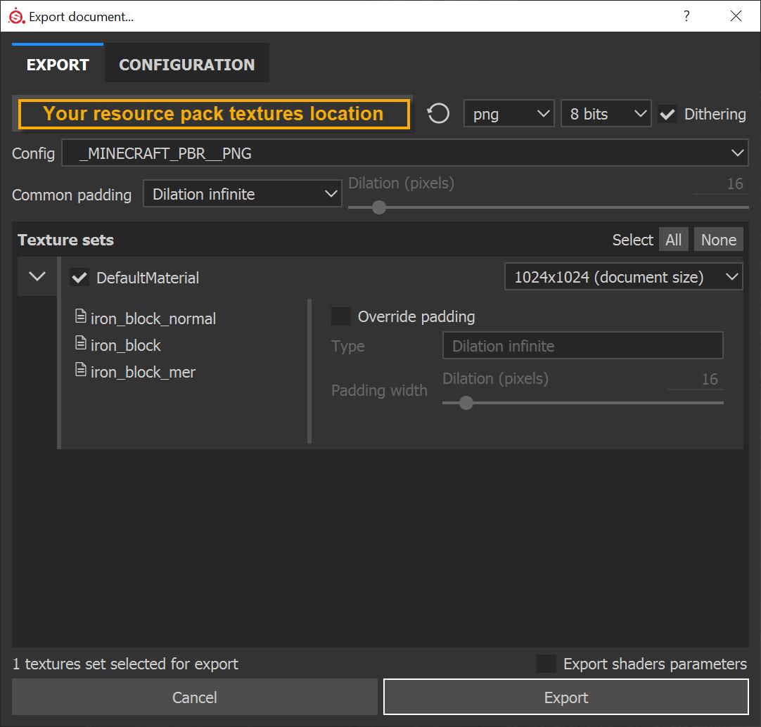 Define your texture's export resolution