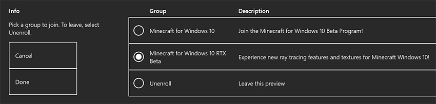 Minecraft with RTX Beta: Xbox Insider Hub - Enroll and Unenroll