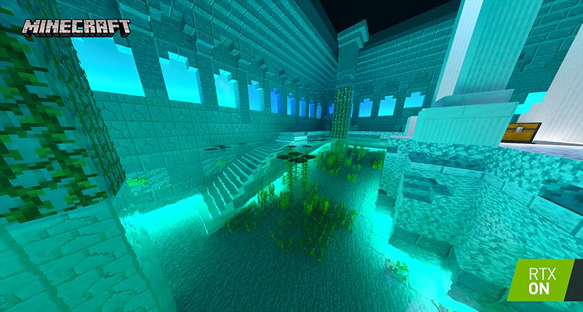 Minecraft with RTX Beta - Aquatic Adventure - Path-Traced Refraction Interactive Screenshot Comparison - RTX ON
