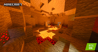 Minecraft with RTX Beta - Color, Light and Shadow - Path-Traced Emissive Blocks Interactive Screenshot Comparison - RTX ON