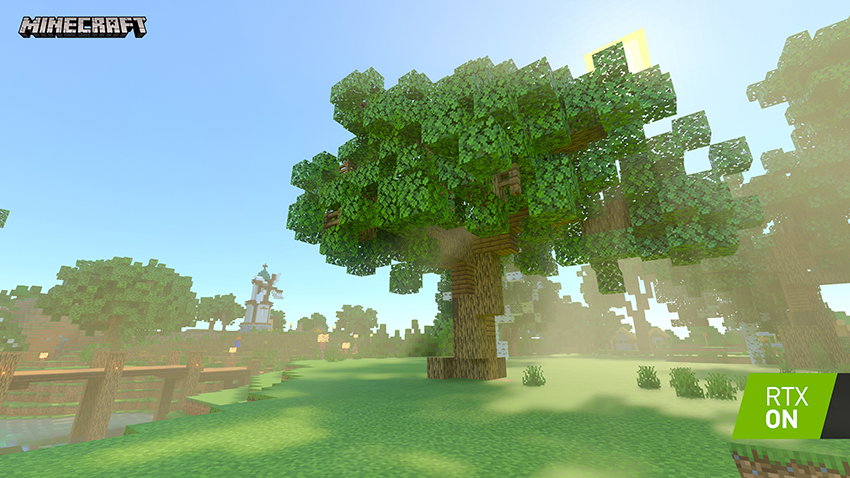 Minecraft with RTX Beta - Crystal Palace - Path-Traced Atmospheric Effects Interactive Screenshot Comparison - RTX ON