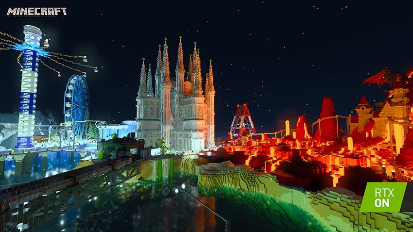 Minecraft with RTX Beta - Imagination Island - Path-Traced Emissive Blocks and Reflections Interactive Screenshot Comparison - RTX ON