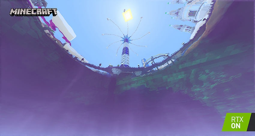 Minecraft with RTX Beta - Imagination Island - Path-Traced Snell's Window Interactive Screenshot Comparison - RTX ON