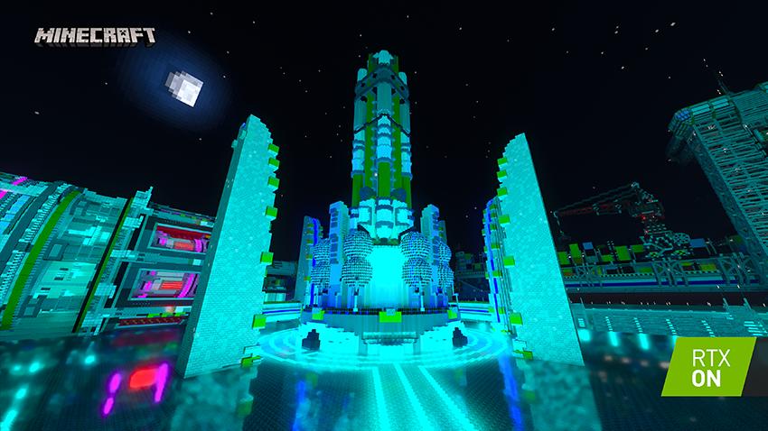 Minecraft with RTX Beta: Neon District - Interactive Screenshot Comparison - RTX ON