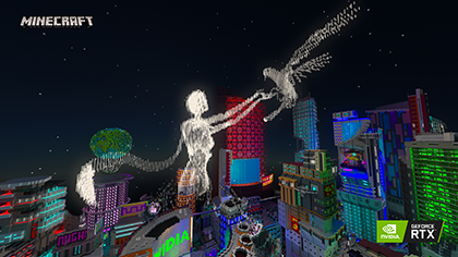 Minecraft with RTX Beta: Neon District Screenshot