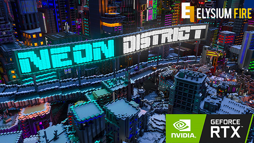 Minecraft with RTX Beta: Neon District Creator World