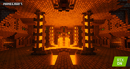 Minecraft with RTX Beta - Of Temples and Totems - Path-Traced Emissive Blocks Interactive Screenshot Comparison - RTX ON