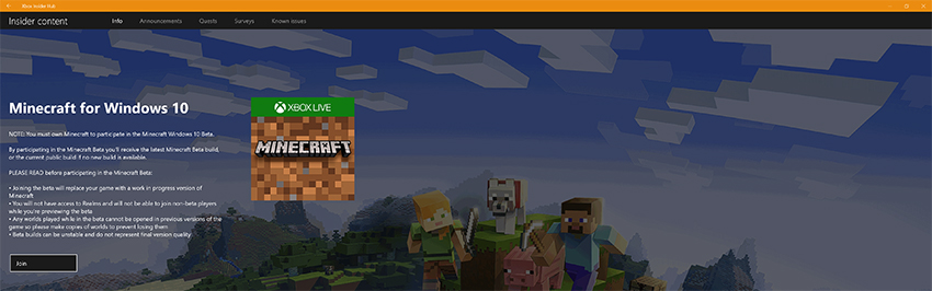 Minecraft with RTX Beta: Xbox Insider Hub - Join Message