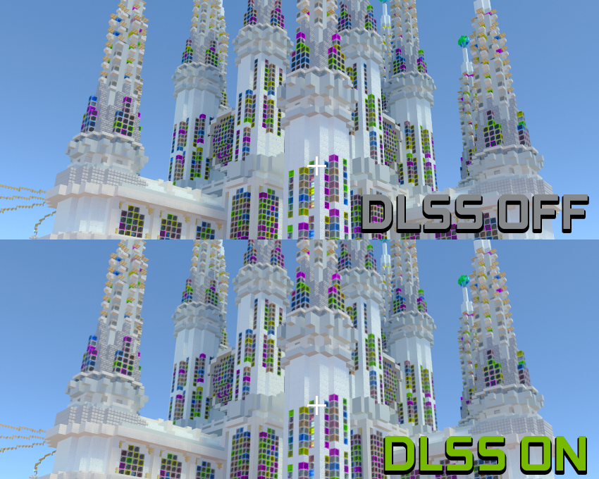 Minecraft with RTX Beta NVIDIA DLSS 2.0 On-Off Screenshot Comparison