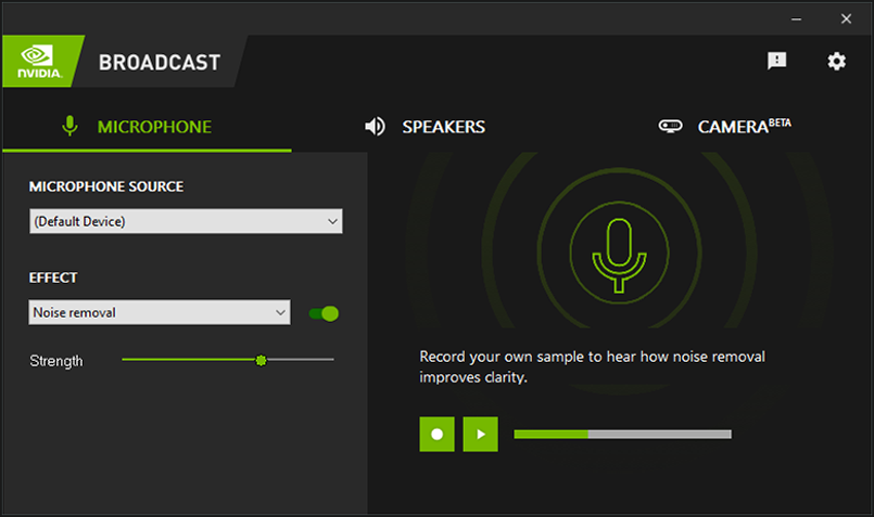 NVIDIA Broadcast App user interface