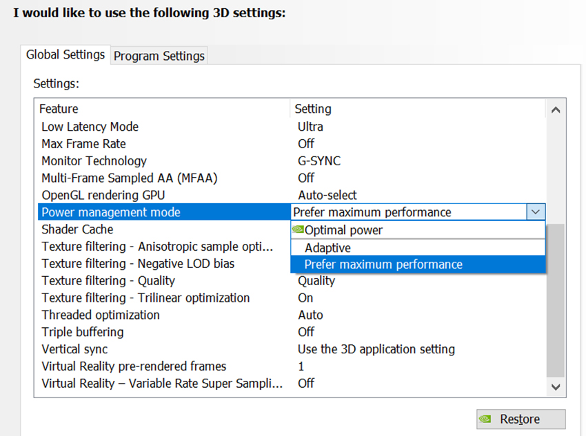 NVIDIA Control Panel's Prefer Maximum Performance option