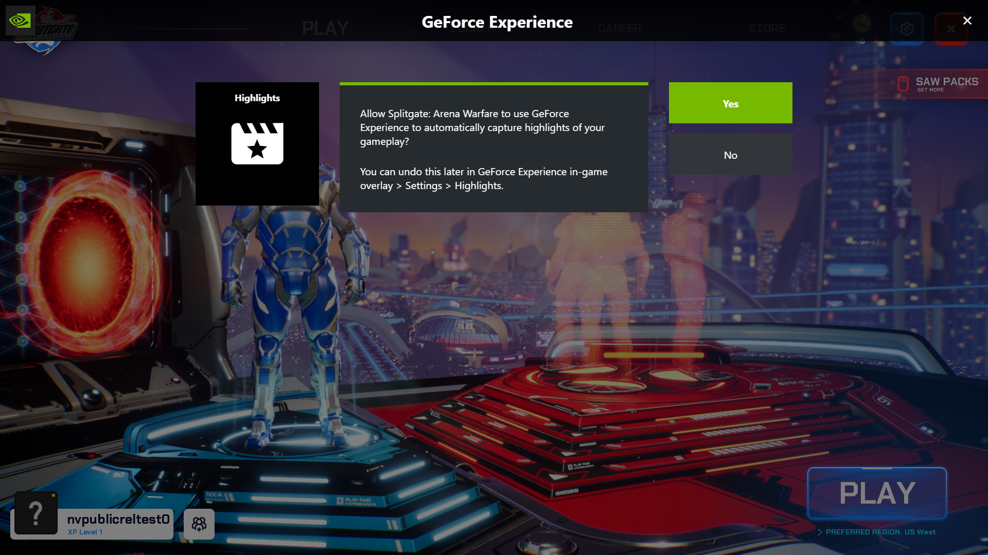 Splitgate: Arena Warfare Adds NVIDIA Highlights As Part Of