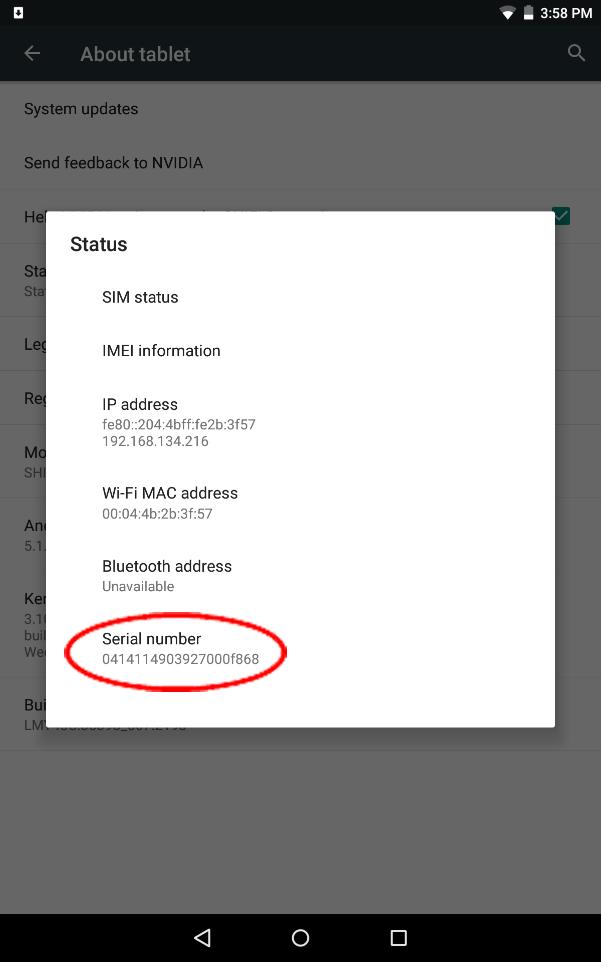 nvidia shield tablet serial number