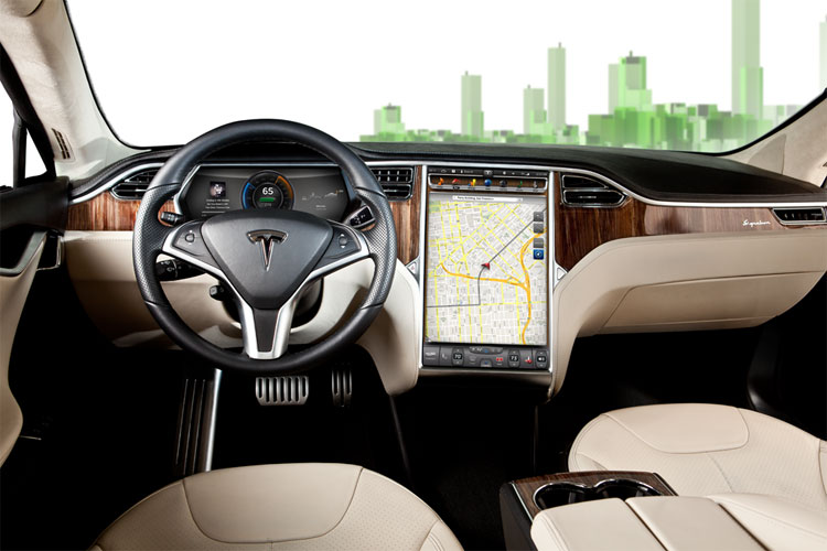 The Tesla Motors Model S infotainment system, featuring a 17-inch touch-screen center console powered by Tegra.