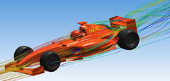 CFD simulation of a Foumula 1 racing car, visualizing flow streamlines